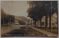 Antique 1915 Real Photo Postcard Main Street West Bristol Vermont AZO
