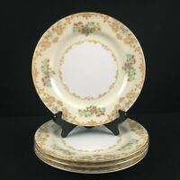 Set of 4 VTG Salad Plates Noritake Delano Multi Floral Spray Gold Trim Japan