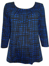 Ex-M & S Blue/Black Checked Pleated Cotton Jersey Top - BNWOT - 10