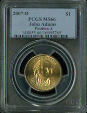 2007-D JOHN ADAMS PRES. DOLLAR PCGS MS66 POS-A BUSINESS STRIKE SPOTLESS