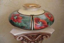 ANTIQUE LIMOGES FRANCE TV HANDPAINTED POPPY VASE SQUAT ART DECO
