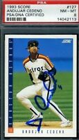 Andujar Cedeno Signed Psa/dna 1993 Score Certified Autograph Authentic