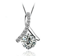 """1.5CT CZ Ribbon Necklace S925 Sterling Silver Chain 18"""" Love heart MOM gift#0046"""