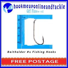 50 x Size #1 Bait Holder Hooks Saltwater Freshwater Fishing Tackle Bulk