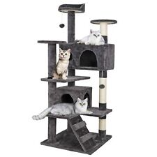 New listing Zeny 53'' Cat Tree with Sisal-Covered Scratching Posts and 2 Plush Rooms .