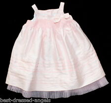 JANIE AND JACK Special Occasion Pink Silk Smocked Dress Girl Size 6-12 M Easter