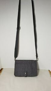 Thirty-One Double Up Crossbody Purse in City Charcoal Swiss Dot Shoulder Bag GUC
