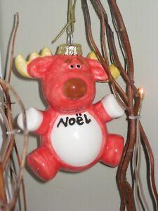 Ceramic Moose Christmas Hanging Decoration