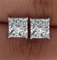 1.05Ct Princess Solitaire Stud Earrings Lab Diamond 14k White Gold FN Screwback