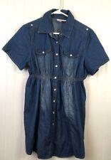 DUO Maternity Size Medium Jean Denim Shirt Snap Buttons Short Sleeve x118