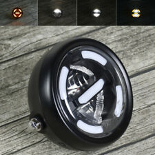 Universal Motorcycle LED Headlight Amber Light 165mm High/Dipped Beam Cafe Racer