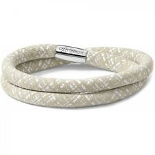 "NWT Brighton WOODSTOCK White Sand Linen DOUBLE Leather Bracelet 16"" MSRP $50"