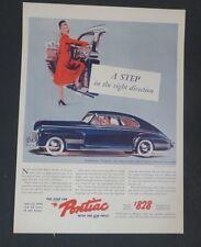 Original 1941 Print Ad PONTIAC Right Direction Torpedo Streamliner Coupe Art