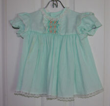 Vintage Frilly Baby Dress Large 27-32lbs Mint Green Polyester/Cotton Blend Sears