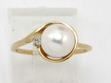 Diamond Right Hand Ring .03ct 14k Yellow Gold Pearl and Round