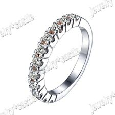 Sterling Silver 925 Pave AAA Graded Cubic Zirconia Wedding Band Classic Ring