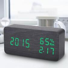 Digital LED Wooden Desk Alarm Clock Timer Thermometer Humidity Voice Control
