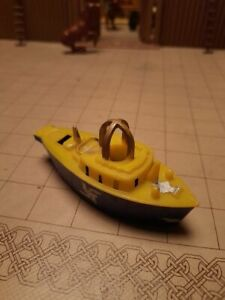 """Vintage LIONAL Plastic Toy Boat Whistle 1950s 4 1/4"""" Long Blue & Yellow"""