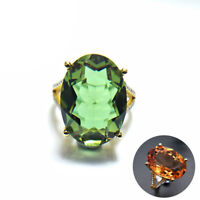 yellow gold color change sultanit 12.1ct big diaspore 925 silver ring for women