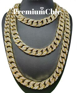 ICED Miami Cuban Choker Link Necklace Or Bracelet Mens Hip Hop Chain Gold Plated