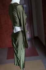 Women's Oneck Long Sleeve Two Piece Dress Cinch Skirt Top Army Green 8 Bodycon S
