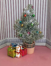 MINIATURE DECORATED FROSTED EFFECT CHRISTMAS TREE & PRESENTS, TABLE TOP, DOLLS