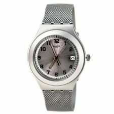 Swatch Men's Watch Silver Effect Aluminum Case Silicone Rubber Strap YGS4032