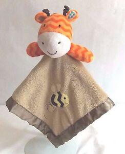 "Circo Jungle Chevron Giraffe w/Bee Lovey Security Blanket 14"" Orange Brown"