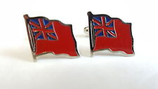 Cufflinks Enamel MERCHANT NAVY Wavy Flag (Red duster)