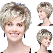 Natural Brown Blonde Mix Straight Short Hair Short LADIES Fashion Wigs + wig Cap