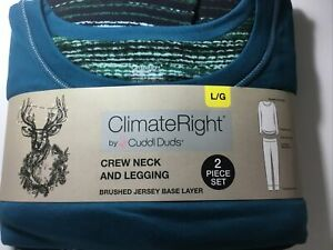 ClimateRight Cuddl Duds 2pc Set Layering Crew Neck & Legging  L  Teal  LARGE
