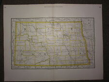 1890 LARGE MAP NORTH DAKOTA ~ STATE COUNTY RAILROAD ~ EXCELLENT CONDITION