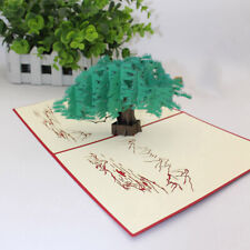 3D Greeny Pines Cypress Greeting Cards Birthday Business Blessing Card Gift CB