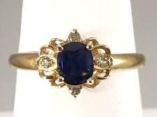 ADORABLE GENUINE SAPPHIRE & DIAMOND SOLID 14KT YELLOW GOLD RING, SIZE 6.5