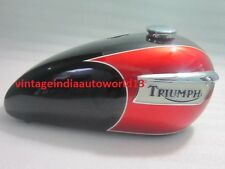 NEW TRIUMPH T140 BLACK AND CHERRY PAINTED FUEL TANK(Repro) WITH BADGES CAP & TAP