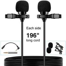 Pop Voice Premium 16 Feet Dual-Head Lavalier Microphone, Professional Lapel Clip