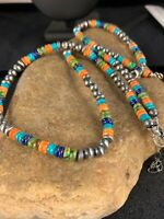 Native American Sterling Silver Multistone Turquoise Lapis Necklace Bracelet Set