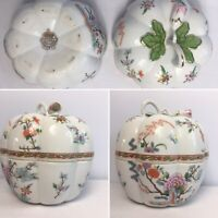 "Vintage Japanese Porcelain Aichi Seto Japan Lidded Pumpkin Trinket Dish 5"" VGC"