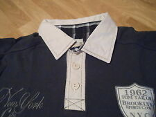Tom Tailor Langarmshirt mit Kragen blau Aufschrift Gr.S  NEU!!