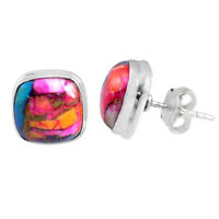 925 Sterling Silver 8.04cts Spiny Oyster Arizona Turquoise Stud Earrings R62937