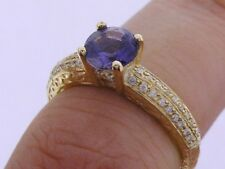 R083- Genuine 9ct SOLID Gold NATURAL Iolite & Diamond Engagement Ring size L