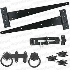 """Tee Hinge 18"""" 450mm Wooden Gate Fitting Kit Garden Gate Ironmongery Set Black"""