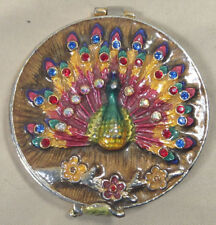 Vintage Peacock Compact Purse Mirror - Costume Jewelry Style With Rhinestones