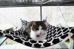 LUXURICAT HAMMOCK, BLACK & WHITE VELVET, REVERSIBLE, CAT BED, CAT LOUNGER