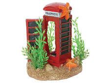 Telephone Box & Plants Nano Aquarium Ornament Mini Fish Tank Cave Decoration