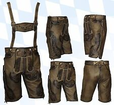 kurze Trachtenlederhose + Träger Plattlerhose Lederhose im Used-Look beige    46
