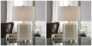 """PAIR MODICA MODERN 26"""" TEXTURED CERAMIC TABLE LAMPS BRUSHED NICKEL CRYSTAL BASE"""