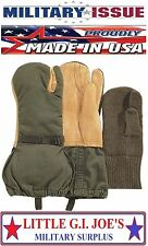 NEW Military Issue Arctic Trigger Finger Mittens With Wool Liners 4394 (LARGE)