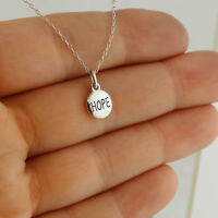 Tiny Round HOPE Charm Necklace - 925 Sterling Silver - Engraved Peace Love Faith