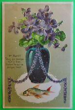 Vase/Violets Poem Fish-Antique Vintage April Fool Day-1er Avril French Postcard